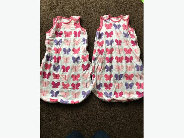 2 x Mothercare 1tog sleeping bags 0-6 months