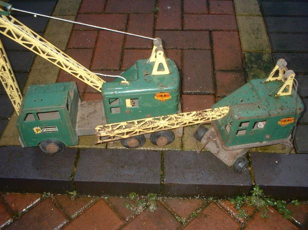 TWO LARGE TINPLATE CRANES