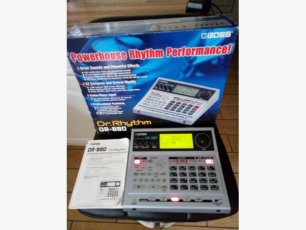 BOSS-DR-880-DR-RHYTHM-DRUM-MACHINE-WITH POWER SUPPLY AND MANUALS