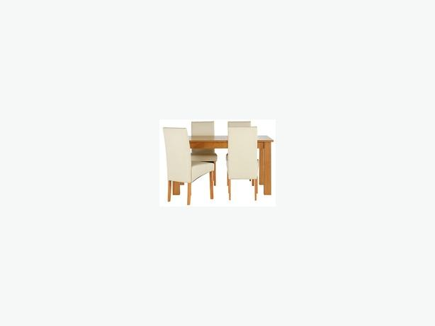 Ashdon  oak table with 4 HOH skirted Cream chairs Dining Set