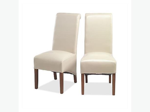 Taj solid sheesham furniture set of two cream leather dining chairs