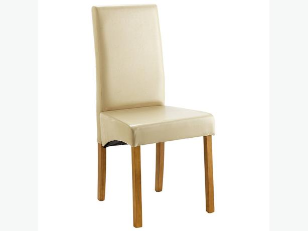 NEW 2 x Heart of House Cream Leather Effect Skirted Dining Chairs
