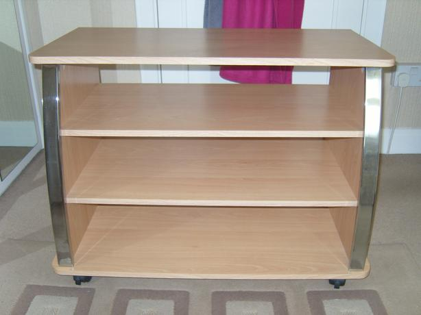 chrome /beech tv stand