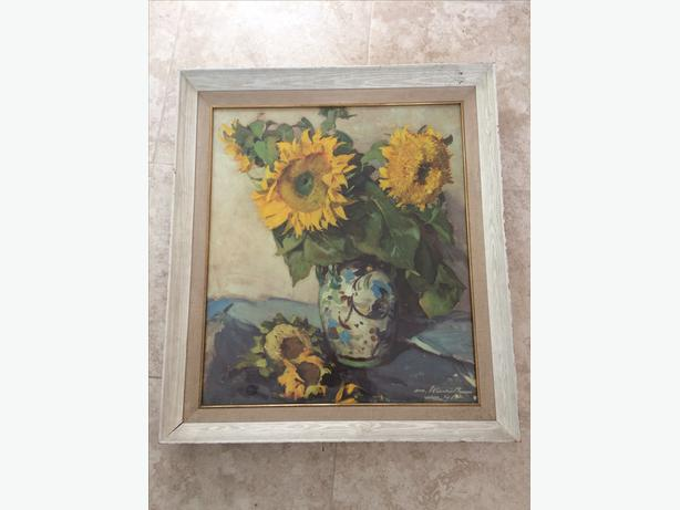 large picture painting sunflowers mayfair with frame