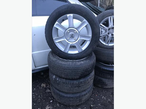 PEUGEOT 16 INCH ALLOY WHEELS 4 STUD 185/60R15 TYRES SET OF FOUR