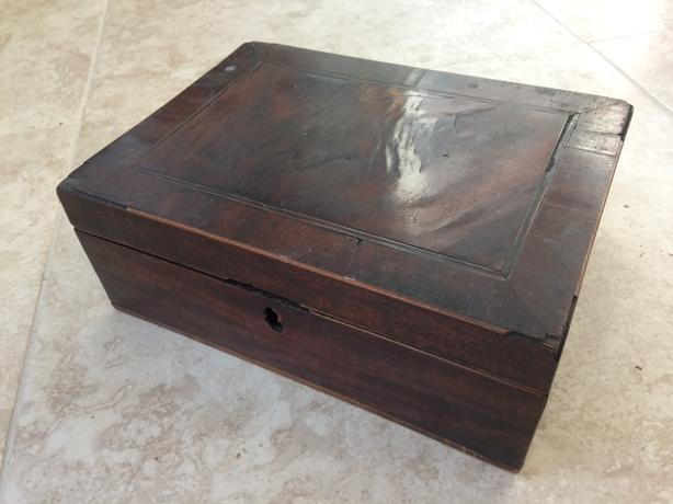 wooden box storage with hinged lid walnut ?