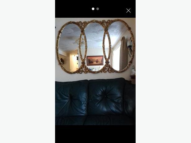 Ornate Triple Gold Framed Mirror