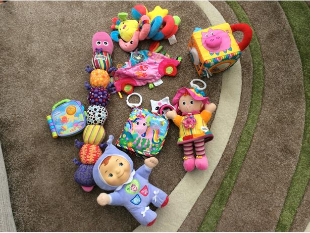 Bag of baby girls toys