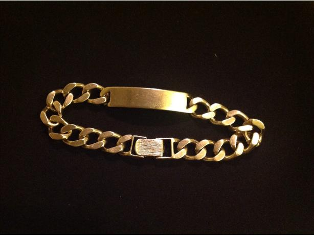 9 INCH 9 CT SOLID GOLD  MENS BRACELET