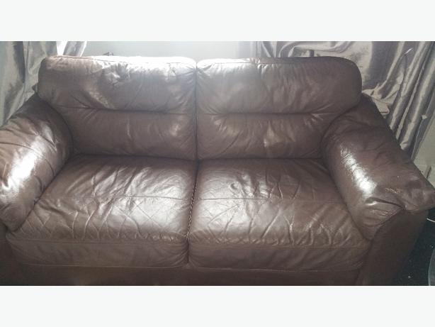 brown 2 and 1 seater leatger sofa