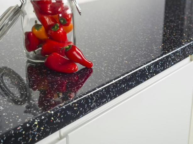 3000 x 600 x 40mm Kitchen Worktops - Black Sparkle Quartz - BRAND NEW