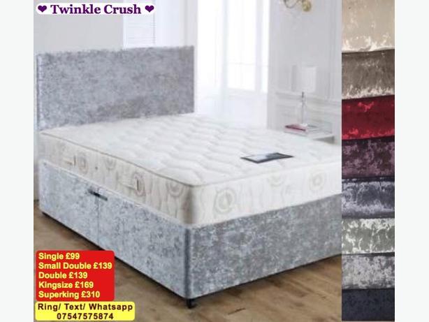 Brand New Crush Velvet Bed + Headboard + Mattress