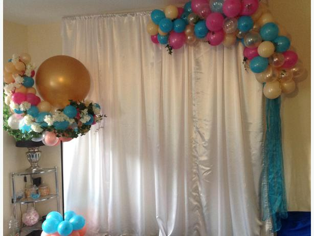 Backdrop with balloon columns and garlands