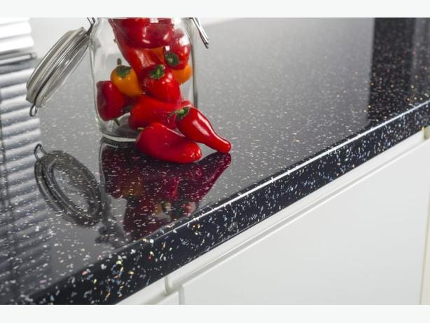 3000 x 600 x 40mm Kitchen Worktop - Black Sparkle Quartz - BRAND NEW