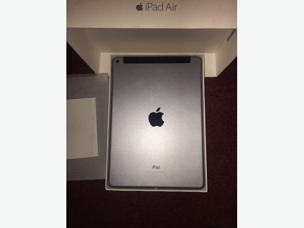 Cellular & Wi-fi  ipad air, 16gb, silver and black,with box & acc.