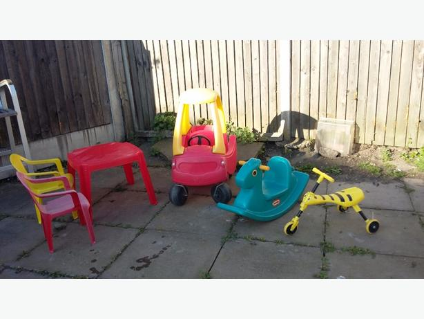 little tikes car / n table chairs /bike /see -saw