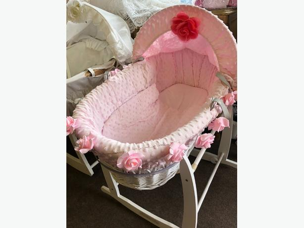 Moses Basket Now and stand baby pink with light up roses