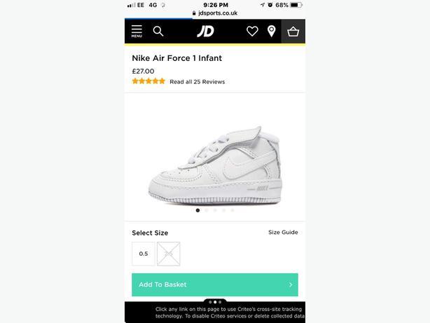 Nike Air Force 1 Crib Shoes