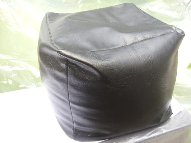 Black Faux Leather square foot stool