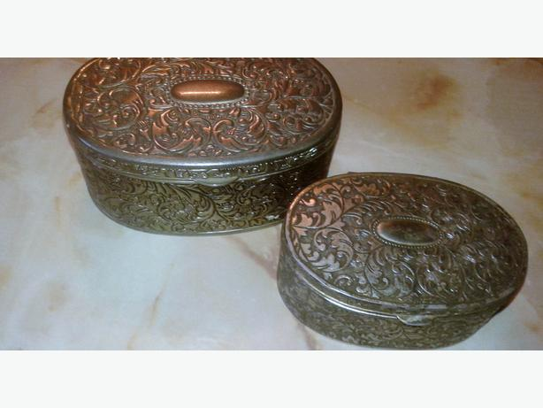 2 vintage art nouveau nickel plated  trinket boxes