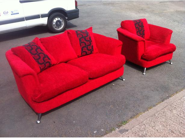 LOVELY TWO SEAT SOFA & ARMCHAIR IN RED CORD FABRIC ~~ CAN DELIVER