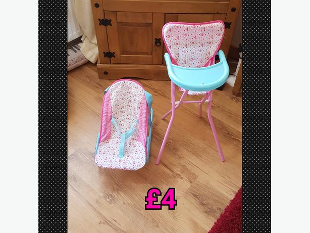 Dolls High Chair And Bouncer