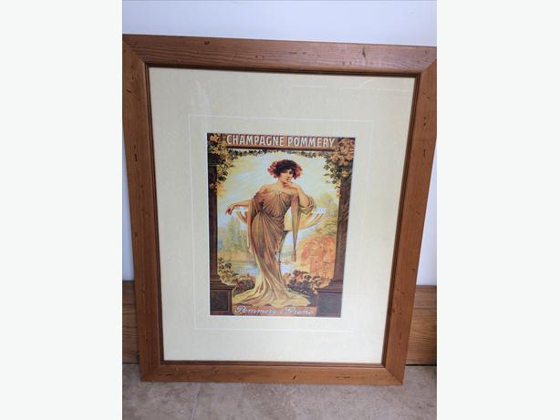 Champagne Pommery poster professionally framed in wooden frame