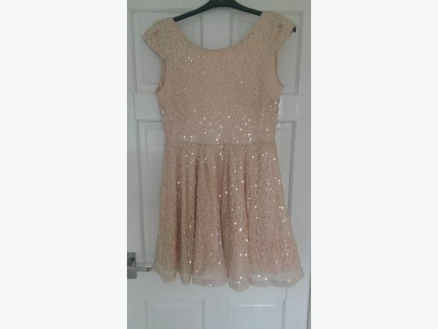 Topshop Nude Sequin Dress - Size 14