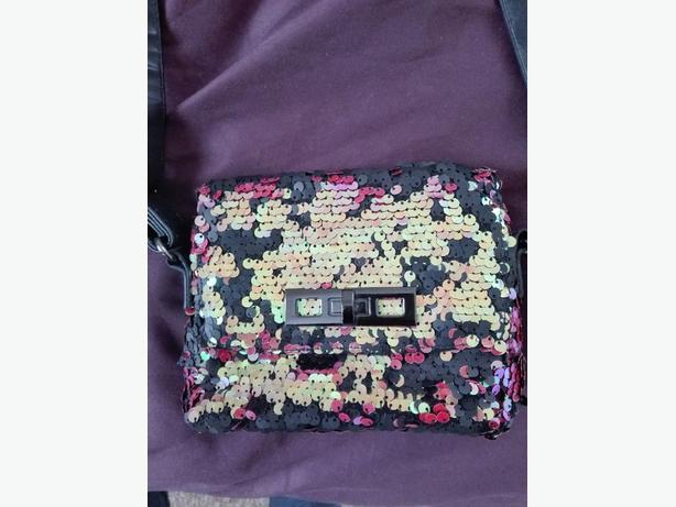 a small sequin bag