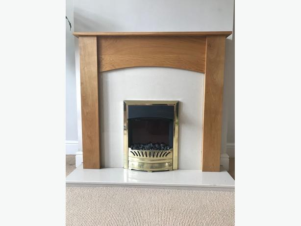Electric fire, surround, hearth and back