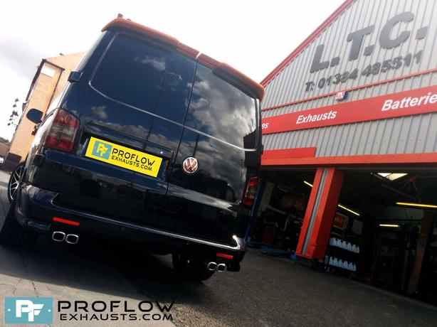 VW T5 Transporter Custom Exhaust mid and rear with Twin Tailpipe