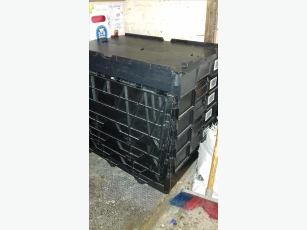 5 Black Plastic Storage Boxes crates stackable hinged lids