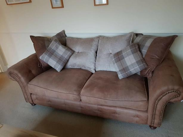 2 x 3 seater brown faux suede pillow back sofas.