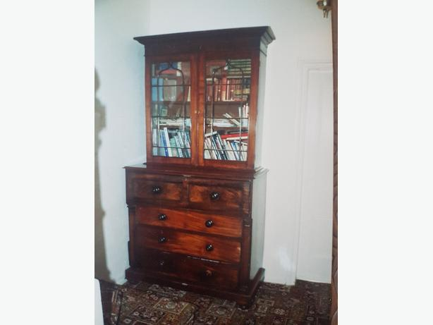 Mahogony Drawers and bookcase . Antique