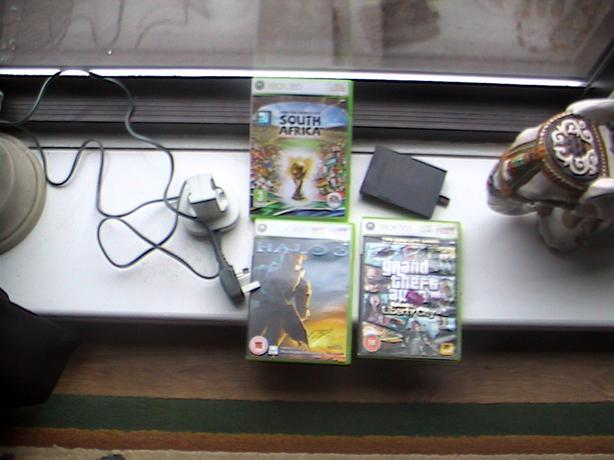 3x  xbox 360 games 60 slim hard drive tested + double charger