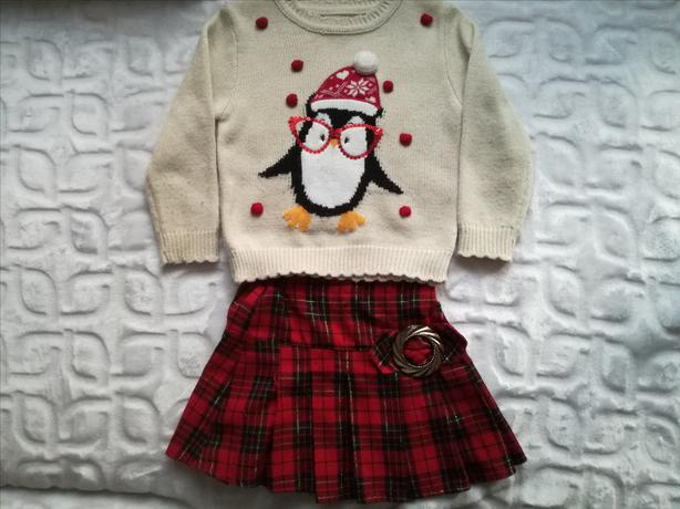 69830c936412 Mini Club Boots Girl Christmas Penguin Winter Jumper 3-4 Years and red skirt