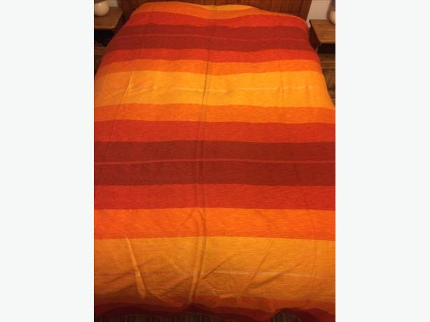 Very large throw cover yellow orange red cotton wool