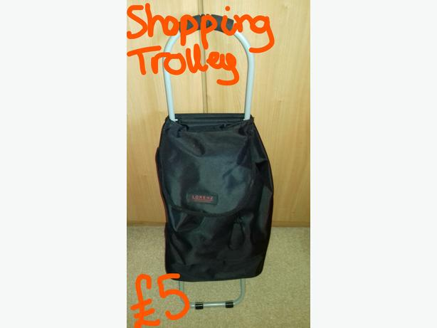 Black shopping trolley in excellent condition