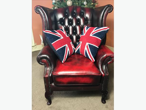 Furniture 1 Traditional Handmade Chesterfield Style Leather Wingback Armchair Oxblood Red