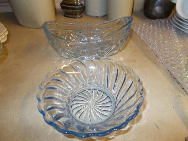 2 pieces of blue glassware