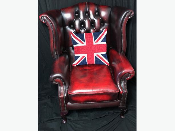 Fine Vintage Handmade Chesterfield Style Leather Wingback Armchair Oxblood Red