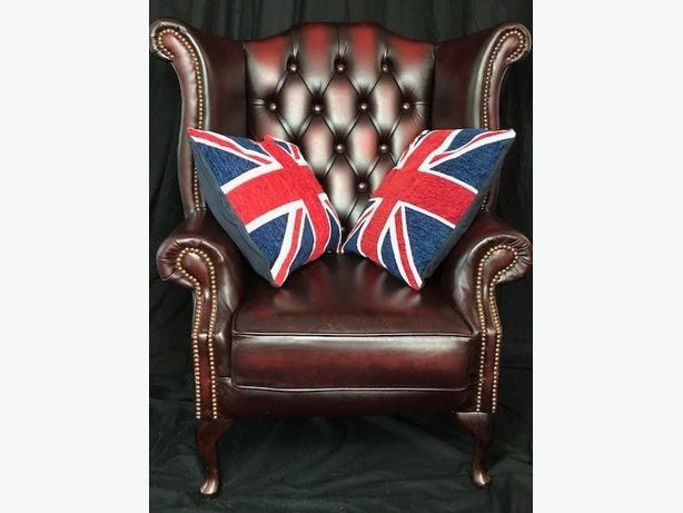 Handmade Chesterfield Style Reproduction Leather Wingback Chair Oxblood Red