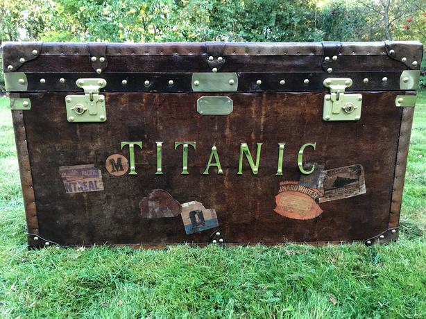 Large Interior Leather Steamer Luggage Chest Coffee Table Titanic Brass Fixtures