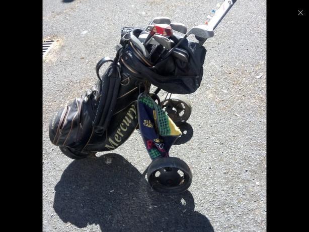 Cheap golf set bag,& trolly n acssesories