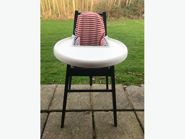 wooden black baby high chair ikea blames with tray and cushion walsall sandwell. Black Bedroom Furniture Sets. Home Design Ideas