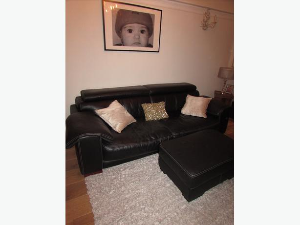 Log In Needed 150 Dfs Black Leather Sofa Chair And Footstool
