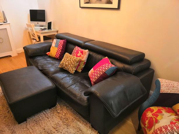 Log In Needed 145 Dfs Black Leather Sofa Chair And Footstool