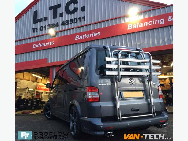 Custom Exhaust Mid / Rear Dual Exit Twin Tailpipes for VW Transporter T5