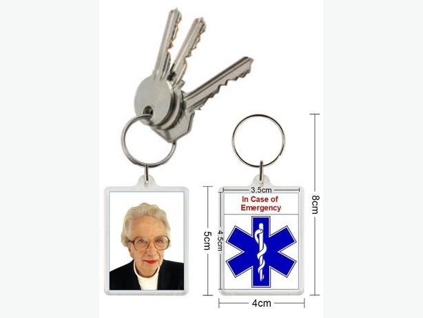 Personalised medical alert key rings.