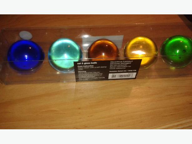 Set Of 5 Decorative Glass Balls